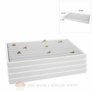 4 White Plastic Stackable Trays W White Continuous Ring Pad Display Inserts