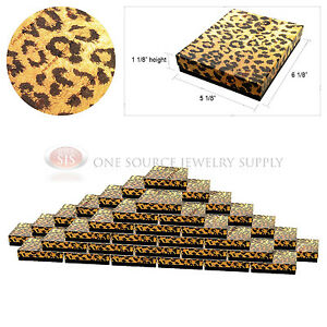 50 Leopard Print Gift Jewelry Cotton Filled Boxes 6 1 8 X 5 1 8 X 1 1 8