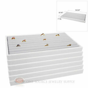 6 White Plastic Stackable Trays W White Continuous Ring Pad Display Inserts