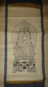 Japanese Edo Period Buddhist Hanging Scroll Zenkoji Temple Amida Triad God Zen