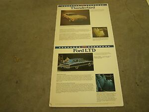 Oem Ford 1976 Thunderbird Ltd Showroom Poster Display
