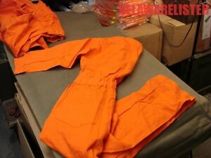 100 Cotton Indura Fire Resistant Orange Work Safe Nomex Coveralls Size 38 Med