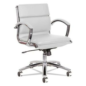 Lot Of 4 Low Back White Leather Office Chair With Padded Arms