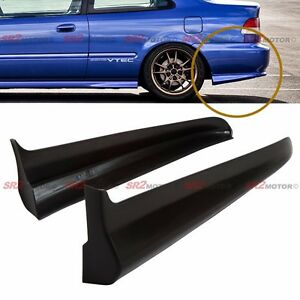 Rear Pu Bumper Lip Spats Cap Spoiler Aprons Valences For 99 00 Civic Coupe Ek