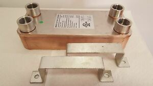 New 40 Plate Water To Water Brazed Plate Heat Exchanger 1 Fpt Ports W brackets