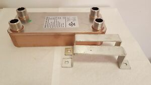 New 40 Plate Water To Water Brazed Plate Heat Exchanger 1 Mpt Ports W brackets