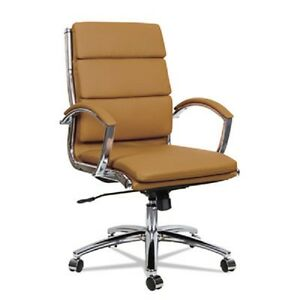 Camel Leather Computer Office Desk Chair With Padded Arms