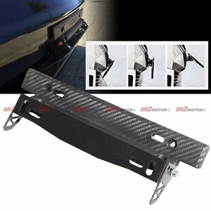 License Plate Adjustable Angle Tilt Frame Holder Relocator Bracket Carbon Looks