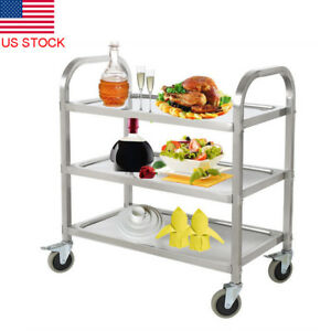Commercial 3 shelf Stainless Steel Kitchen Restaurant Utility Buffet Cart Wheel