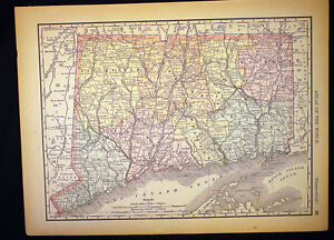 Antique Map Connecticut 1892