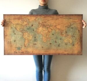 Large Ancient Old Navigation World Map Labeled Poster Home D Cor 28 X14