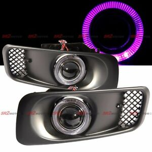 Purple Led Drl Halo Angel Eyes Projector Fog Lights Lamps Kit Fits 99 00 Civic