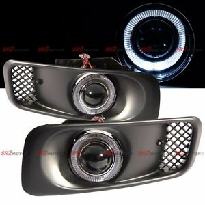 White Led Drl Halo Angel Eyes Projector Fog Lights Lamps Kit Fits 99 00 Civic
