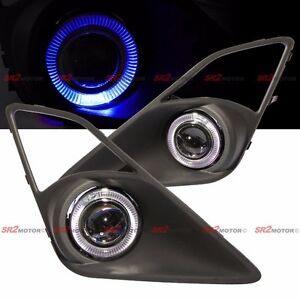 Blue Led Drl Halo Angel Eyes Projector Fog Lights Lamps Kit Fits Frs