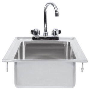 10 X 14 X 5 16 gauge Stainless Steel One Compartment Drop in Sink W Faucet