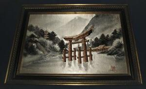Vintage Chinese Silk Embroidery Kesi Kossu Landscape Mountains River Signed