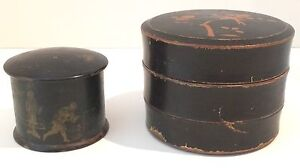 Black Lacquer Teak Round Boxes Japan Set Of 2 Likely 1800 S