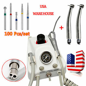 Dental Portable Turbine Unit 3way Syringe 2 Led Fiber Optic Handpiece 100 Burs