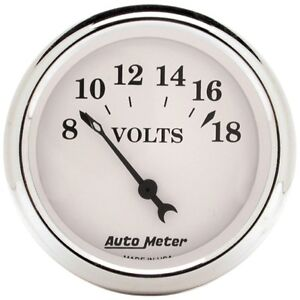 Auto Meter 1692 2 1 16 Voltmeter Gauge 8 18v Air core Old tyme White