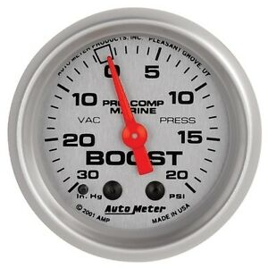 Auto Meter 200774 33 2 1 16 Vacuum Boost Gauge Mechanical Marine Silver