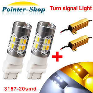 2x 3157 5730 20 Led Projector Switchback Amber White Turn Signal Bulbs Resistors