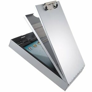 Aluminum Clipboard 2 Compartment Document Storage Box Metal Office Clip Board