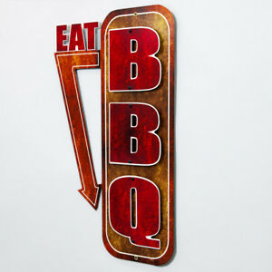 Eat Bbq Metal Sign Cut Out Arrow Barbecue Restaurant Kitchen Decor 15 X 24