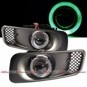 Green Led Drl Halo Angel Eyes Projector Fog Lights Lamps Kit Fits 99 00 Civic