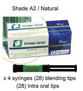 Prime dent Dual Cure Composite Luting Cement 4 Syringe Kit Natural Made In Usa