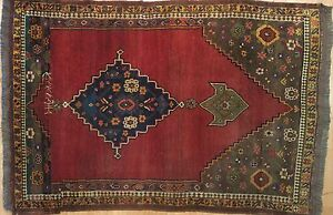 Beautiful Bijar 1870s Antique Kurdish Rug Persian Tribal Carpet 4 1 X 6 1