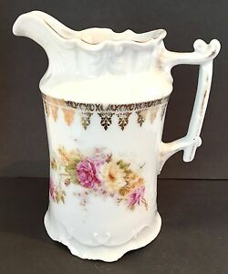 Antique Porcelain Pitcher Or Creamer Carl Tielsch C T Mark 1875 1900