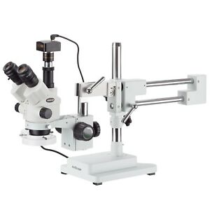 7x 45x Simul focal Stereo Zoom Microscope On Boom Stand Fluorescent Light Ca