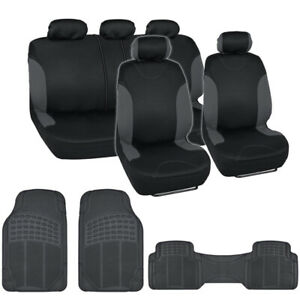 Black And Charcoal Cloth Car Seat Covers Car Rubber Floor Mats 11 Piece Set