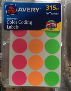315 Avery Color Coding Labels Removable 3 4 Round Yard Sale Stickers Flea
