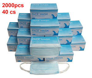 2000 Pcs Disposable 3 ply Earloop Anti dust Face Mask Medical Dental Nail Health