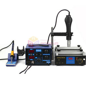220 110v 2in 1 Soldering Rework Station Hot Air Iron Preheat Station For Bga