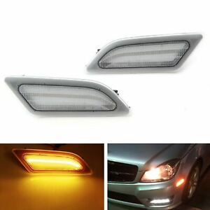 Euro Clear Lens Amber Led Side Marker Lights For 12 14 Mercedes W204 Lci C class