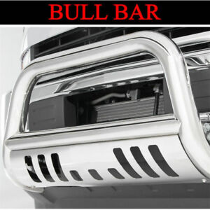 Chrome Bull Bar For 2007 2013 Chevy Silverado 1500 Ld W Skid Plate Grille Guard