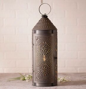 Irvin S 22 Punched Tin Lantern In Blackened Tin
