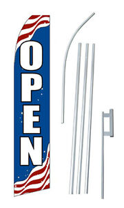Patriotic Open Advertising Banner Flag Complete Tall Sign Kit 2 5 Wide