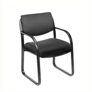 Boss Office Products Fabric Sled Base Guest Chair With Arms In Black