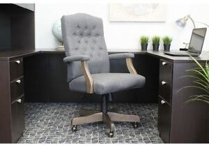 Office Desk Chair Executive Home Furniture High Back Wood Arm Swivel Rustic Gray