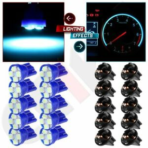 10x Ice Blue T10 194 4smd Led Bulbs Instrument Panel Cluster Dash Light Sockets