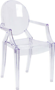 Lot Of 10 Ice Cream Yogurt Shop Transparent Ghost Crystal Chair With Arms