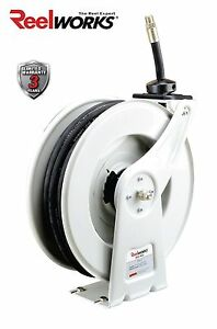 Reelworks Spring Rewind Oil Hose Reel With 1 2 Inch X 50 Ft Sae 100r1 Hose