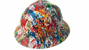 Hydrographic Sticker Bomb Msa V guard Full Brim Hard Hat