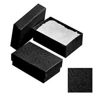 Set Of 12 Swirl Black Cotton Filled Box Jewelry Gift Retail Packaging Boxes