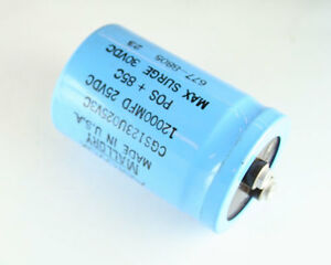 Lot Of 5 Mallory 12000uf 25v Large Can Electrolytic Capacitor Cgs123u025v3c