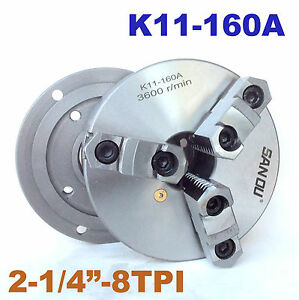 1pc Lathe Chuck 6 3 Jaw Self centering W Back Plate 2 1 4 8tpi K11 160a
