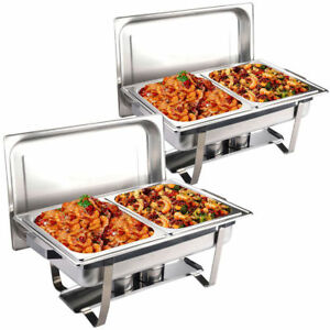 2 X Large Chafing Dish Buffet Stoves Caterers Food Warmer Tray Dinner Serving